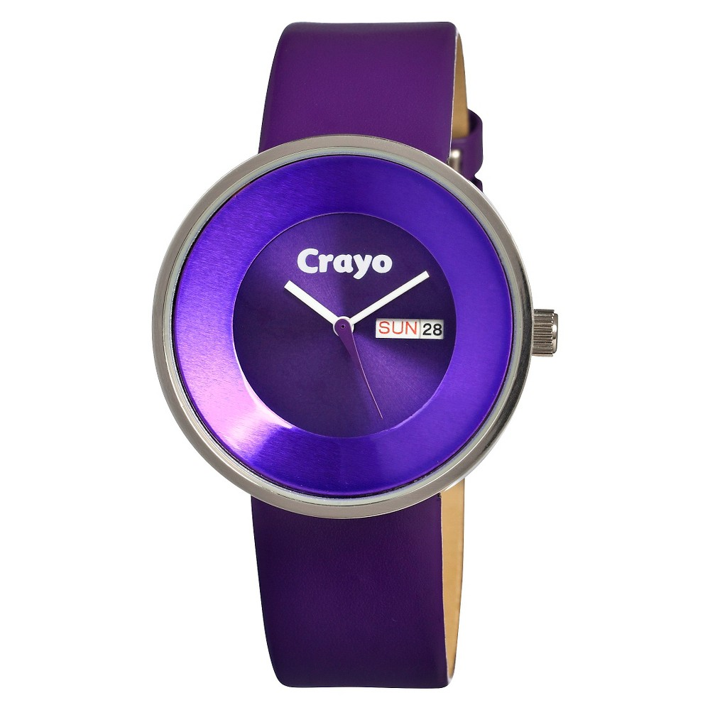 Image of Women's Crayo Button Watch with Day and Date Display - Purple, Size: Small