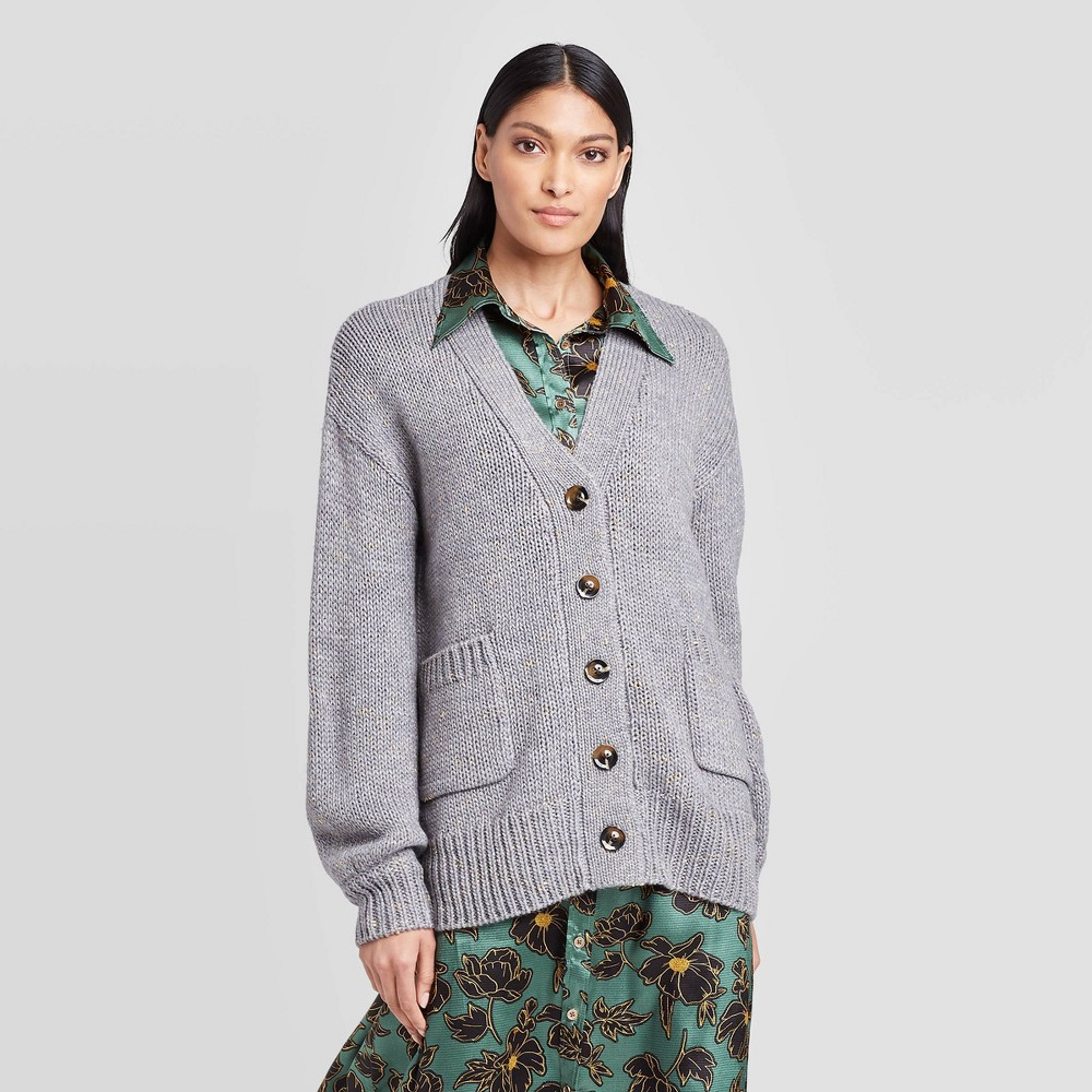 Women's Tinsel Puff Long Sleeve Cardigan - Who What Wear Gray XS was $36.99 now $25.89 (30.0% off)