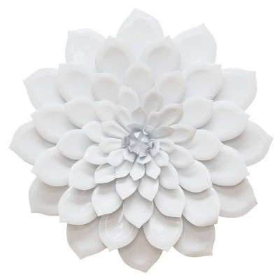 "19.88"" x 19.88"" Layered Flower Wall Decor White - Stratton Home Décor"