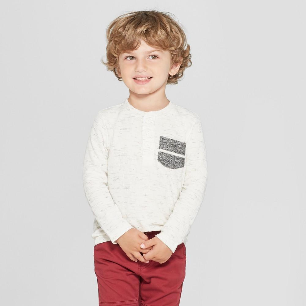 Toddler Boys' Long Sleeve Henley Shirt - Cat & Jack Cream 2T, White