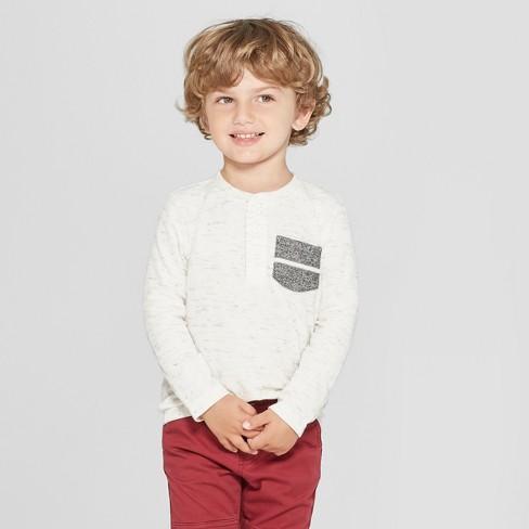 6a2ead12a4 Toddler Boys' Long Sleeve Henley Shirt - Cat & Jack™ Cream 3T : Target