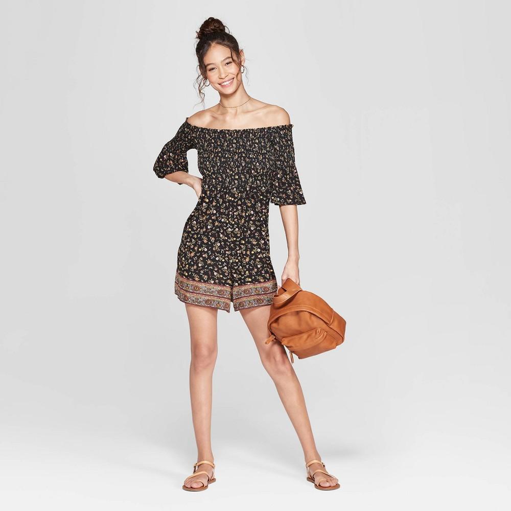 Women's Floral Print 3/4 Sleeve Off the Shoulder Smocked Knit Romper - Xhilaration Black M