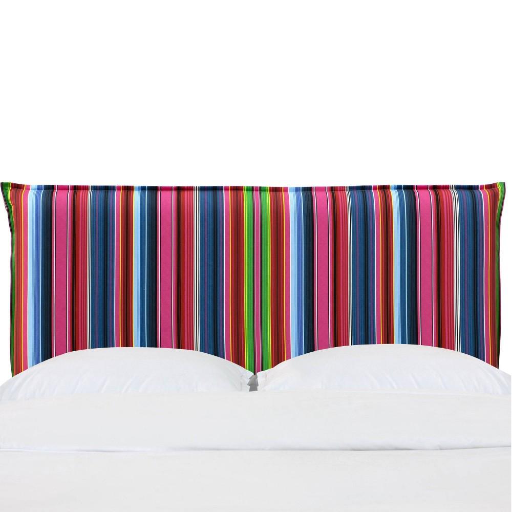 Full French Seam Headboard in Serape Stripe Bright Rainbow - Cloth & Co., Multicolored