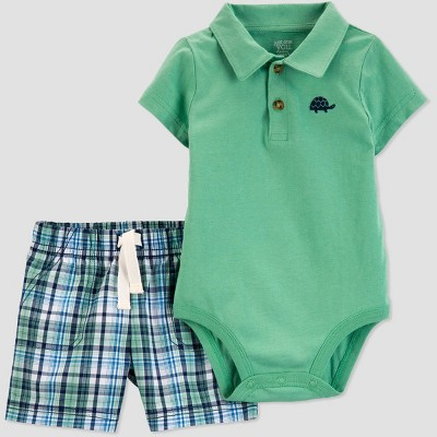Baby Boys' 2pc Plaid Turtle Shorts Set - Just One You® made by carter's Green 3M
