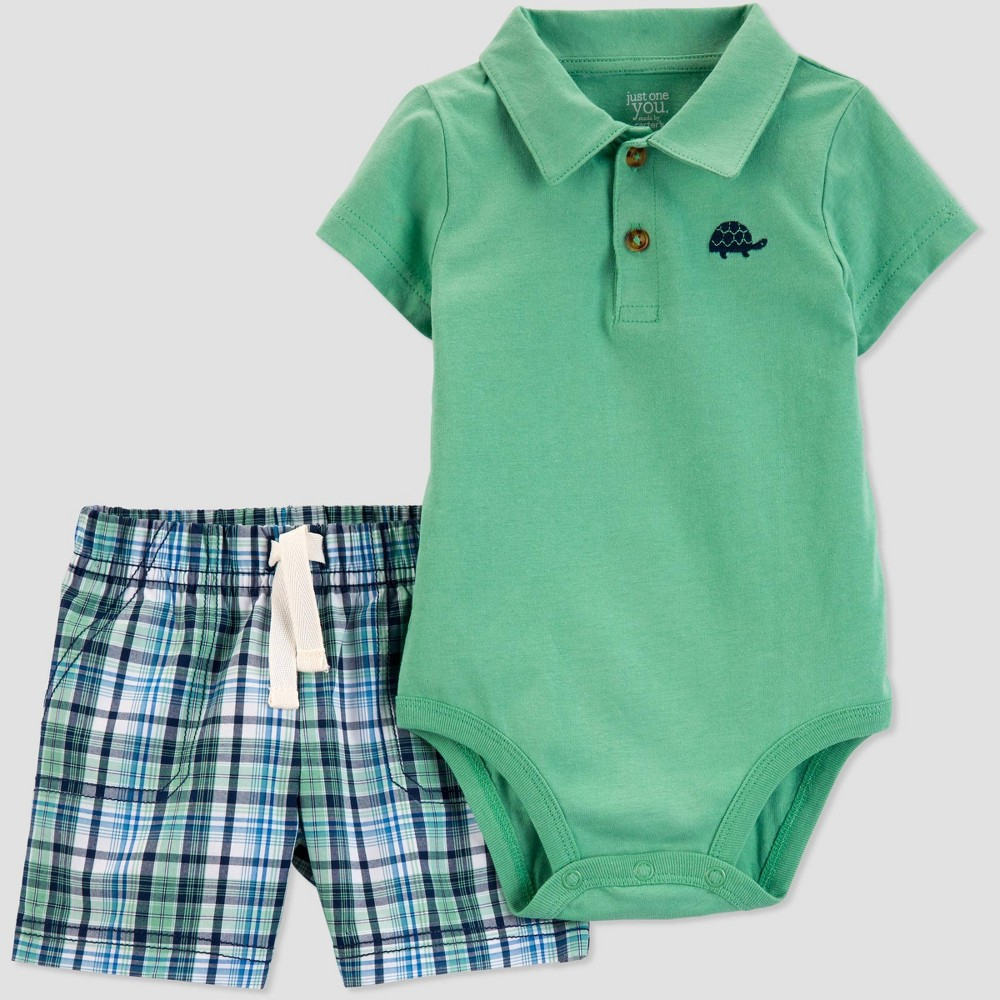 Baby Boys' 2pc Plaid Turtle Shorts Set - Just One You made by carter's Green 6M