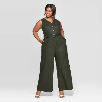 Women's Plus Size Sleeveless V-Neck Belted Jumpsuit - Who What Wear™ Green 3X