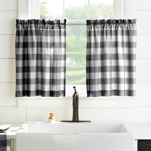 "Farmhouse Living Buffalo Check Kitchen Tier Window Curtain Set of 2 - 30"" x 36"" - Black/White - Elrene Home Fashions - image 1 of 3"