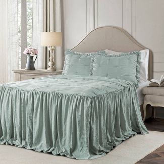 King 3pc Ravello Pintuck Ruffle Skirt Bedspread & Sham Set Blue - Lush Décor