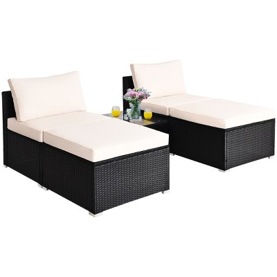Costway 5PCS Patio Rattan Wicker Furniture Set Armless Sofa Ottoman Cushioned Garden