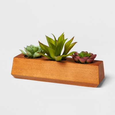 "10"" x 5"" Artificial Succulents In Wood Pot Brown - Project 62™"