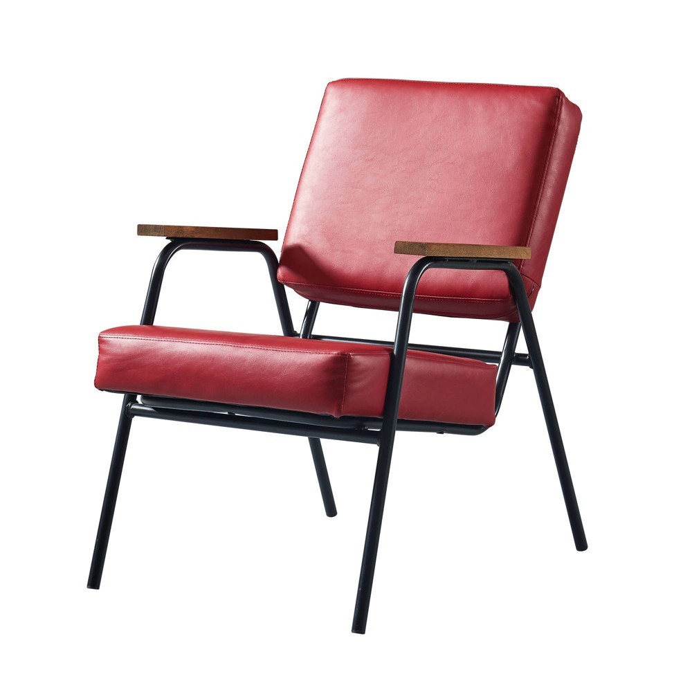 Image of Denver Armchair with Metal Leg & Wood Armrest Red/Black Finish - Versanora