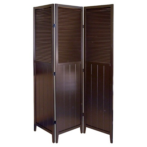 Shutter Door 3 Panel Room Divider Coffee - Ore International - image 1 of 1