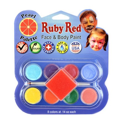 Face & Body Paint Kit Artist Palette Pearl Colors 8ct - Ruby Red