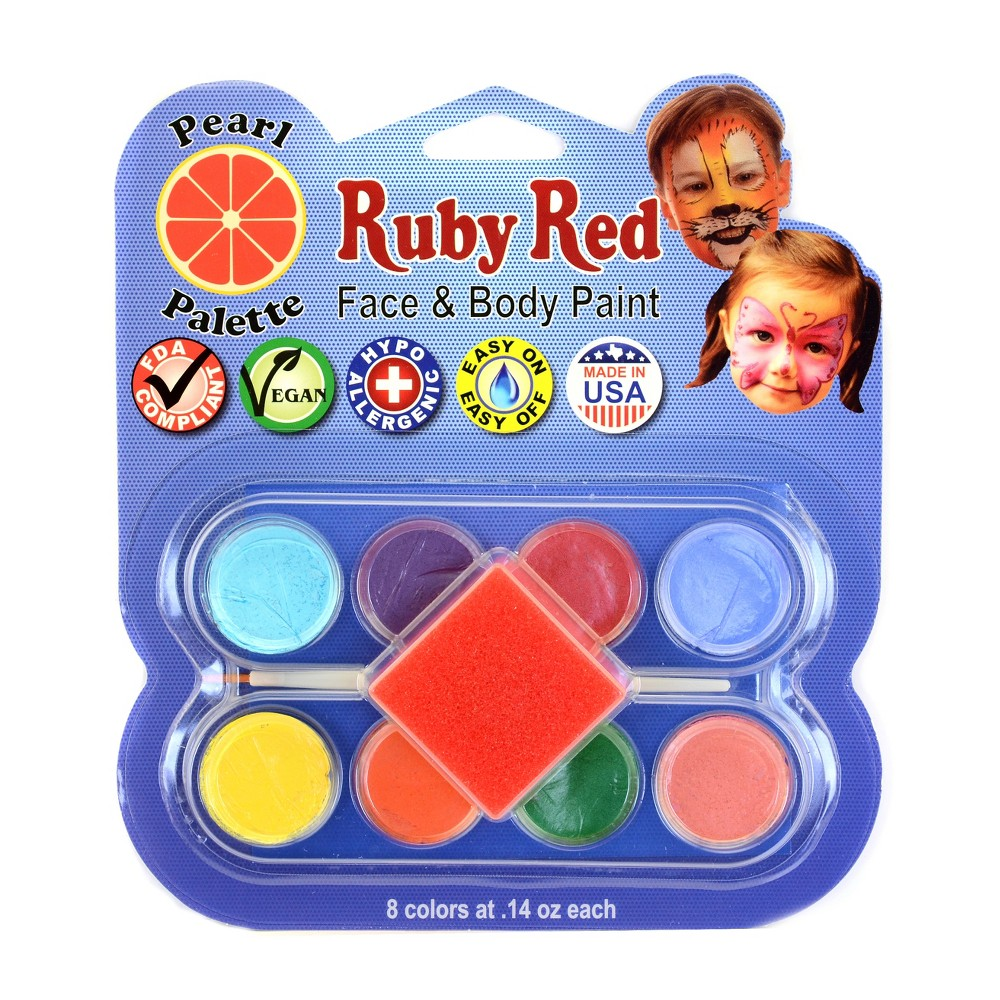 Image of Face & Body Paint Kit Artist Palette Pearl Colors 8ct - Ruby Red