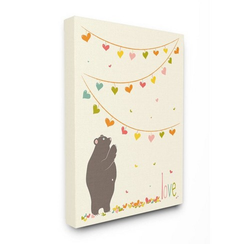 """16""""x1.5""""x20"""" Love Bear with Heart Garland Stretched Canvas Wall Art - Stupell Industries - image 1 of 2"""