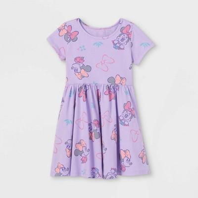 Toddler Girls' Minnie Mouse Short Sleeve Jersey Knit Dress - Purple