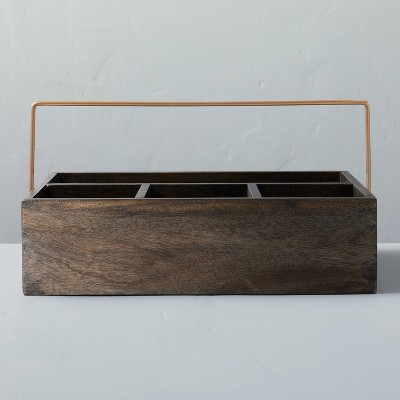 Wood Catchall Storage Caddy Faded Black Finish - Hearth & Hand™ with Magnolia