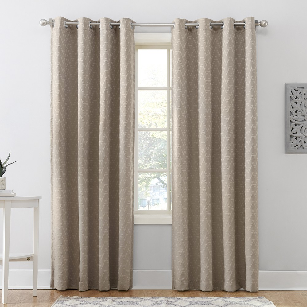 Corinne Woven Geometric Blackout Lined Grommet Curtain Panel Oatmeal 52