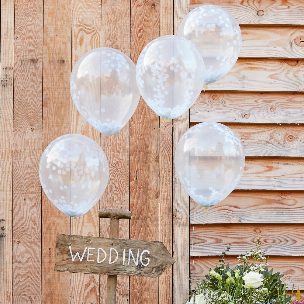 Ginger Ray 12 Balloons Confetti White