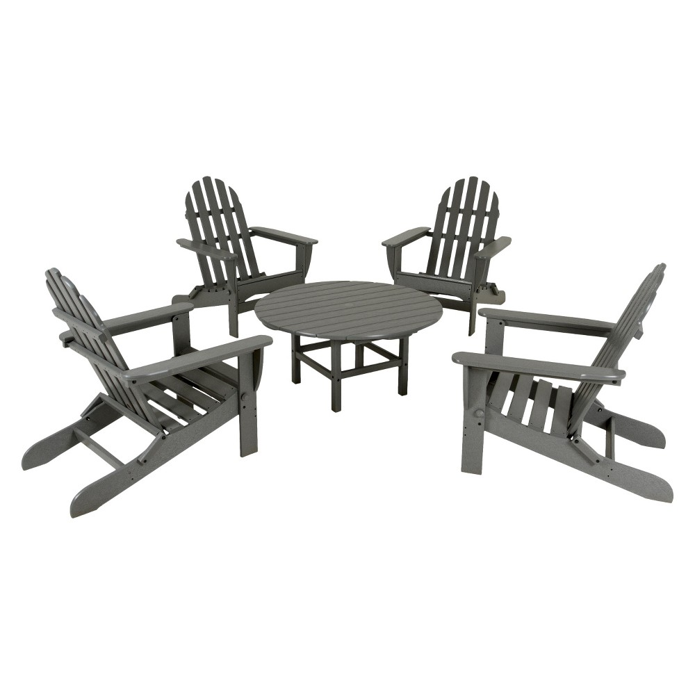 Polywood 5-Piece Adirondack Conversation Furniture Set - Gray