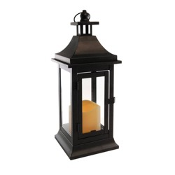 Classic Small Metal LED Lantern With Battery Operated Candle Black - LumaBase