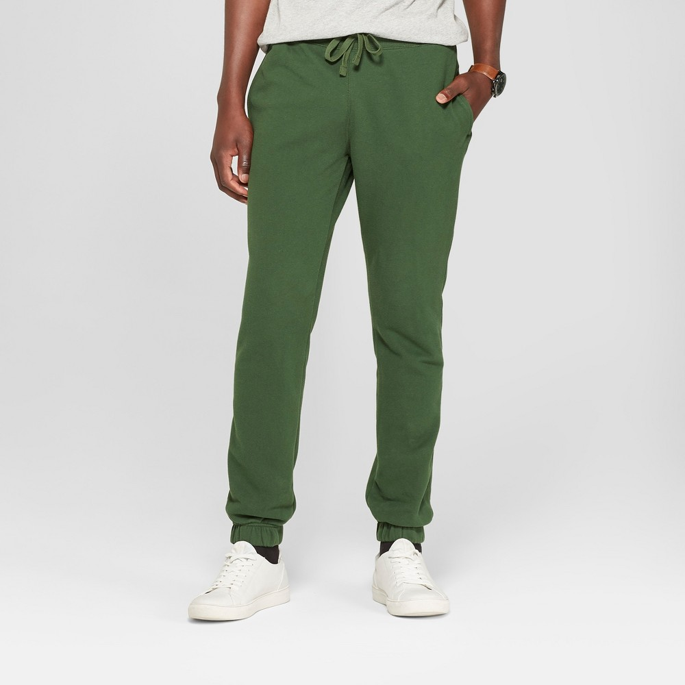 Men's Fleece Cinched Jogger Pants - Goodfellow & Co Banyan Tree Green 2XL