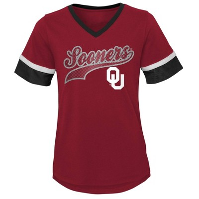 NCAA Oklahoma Sooners Girls' Short Sleeve V-Neck T-Shirt