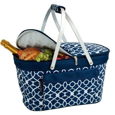 Picnic at Ascot Large Family Size Insulated Folding Collapsible Picnic Basket Cooler with Sewn in Frame
