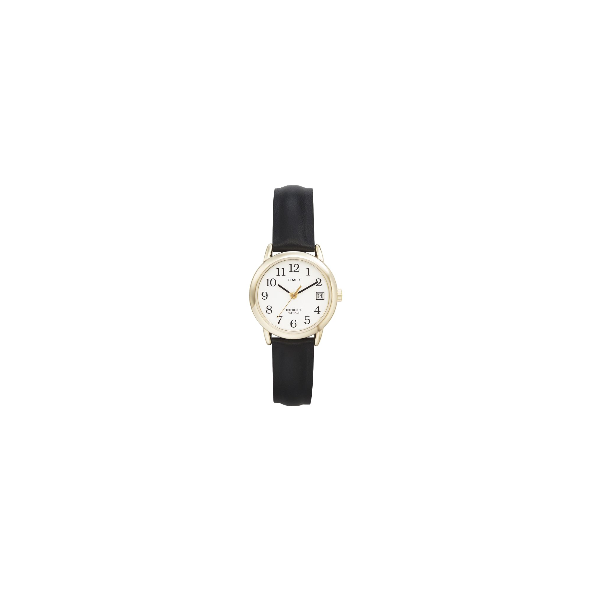 Women's Timex Easy Reader Watch with Leather Strap- Gold/Black T2H341JT, Size: Small