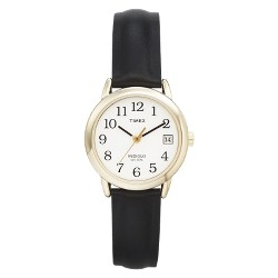 Women's Timex Easy Reader®  Watch with Leather Strap- Gold/Black T2H341JT
