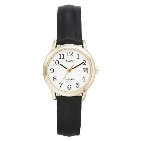 f3c922246 Women's Timex Easy Reader® Watch with Leather Strap- Gold/Black T2H341JT