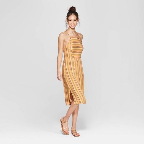 473510d7fd1a Women s Striped Strappy High Neck Midi Dress - Xhilaration™ Sunflower Moss