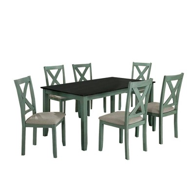 7pc Dining Table Set with Padded Seat and X Back - Benzara