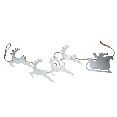 "Melrose 5.5' x 6.75"" Galvanized Reindeer Leading Santa in Sleigh on Jute Rope Christmas Garland - image 1 of 1"