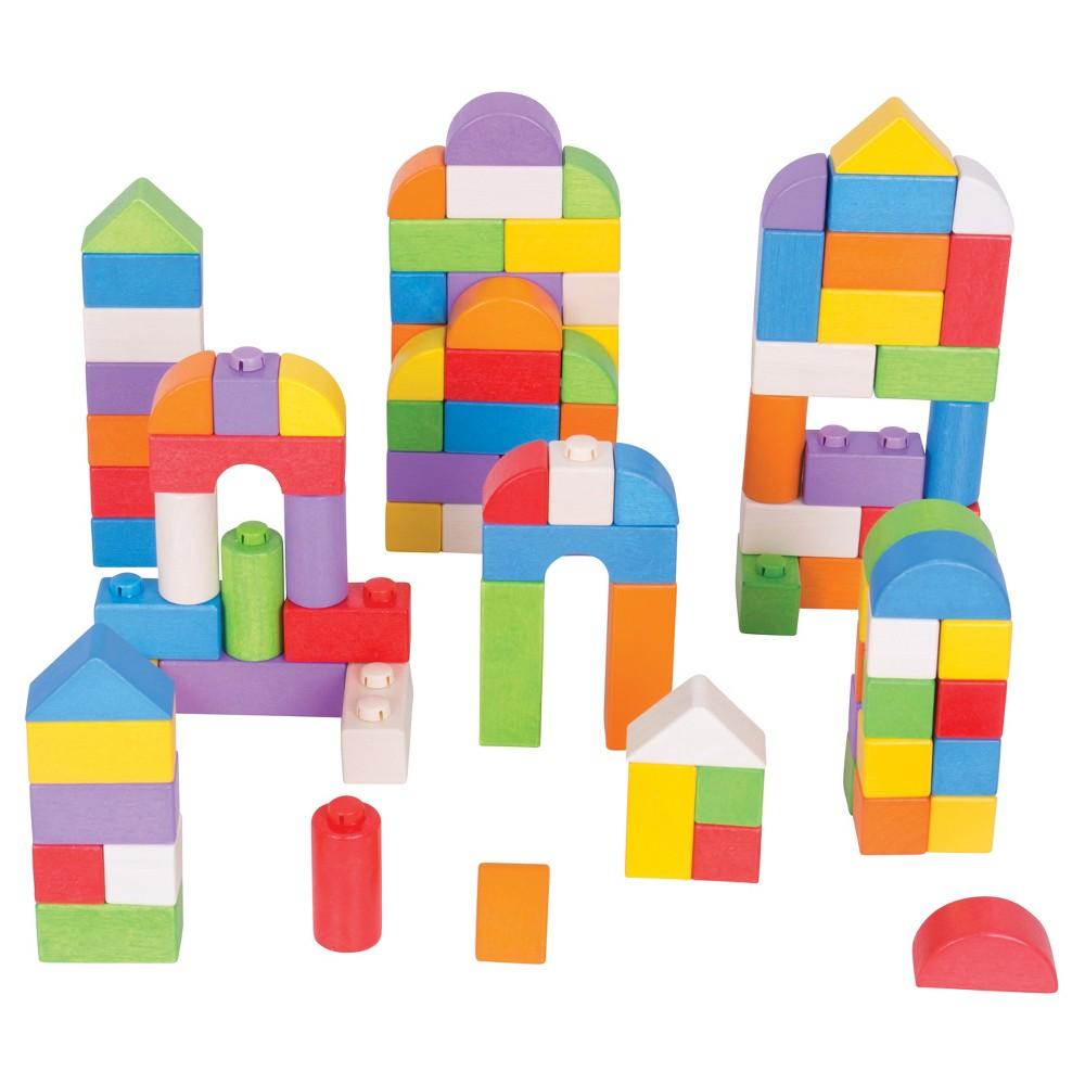 Bigjigs Toys Wooden Click Blocks Building Set - Colored Wood (100pc)