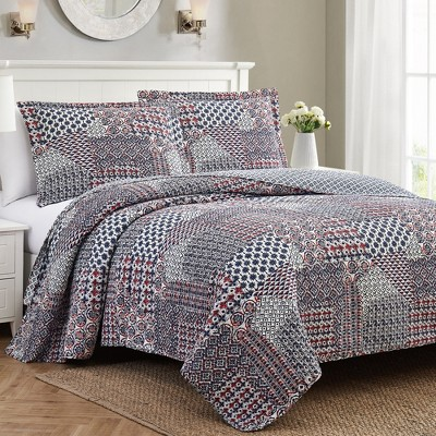 Modern Threads 2 Or 3 Piece 100% Cotton Enzyme Washed Quilt Set Vivienne.