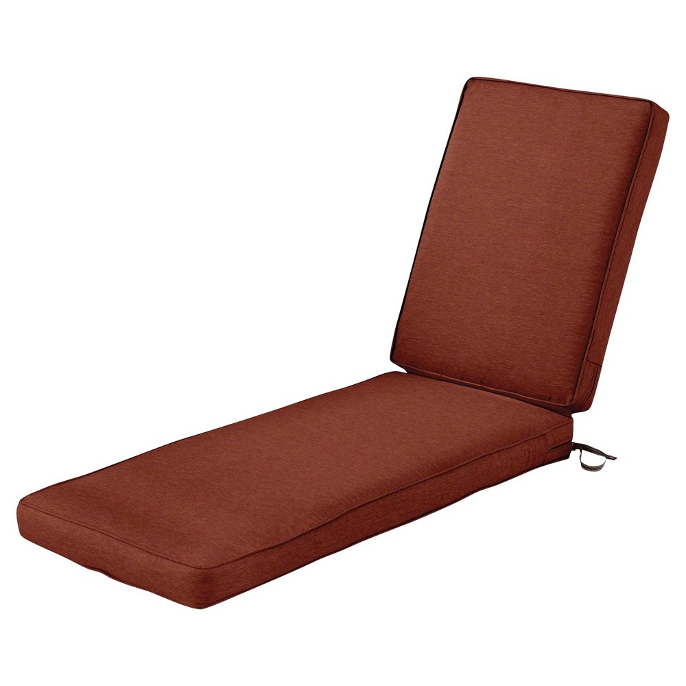 Image of Montlake Fadesafe Patio Chaise Lounge Cushion Set - Heather Henna Red - Classic Accessories