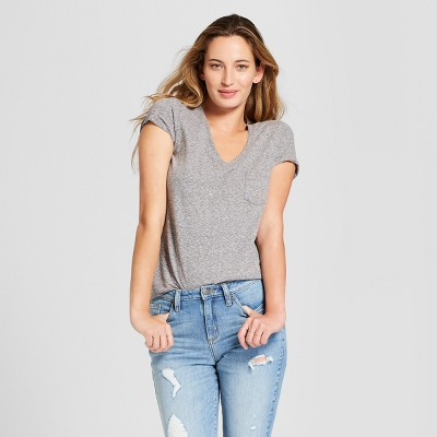 Women's Monterey Pocket V Neck Relaxed Fit Short Sleeve T Shirt   Universal Thread Gray M by Neck Relaxed Fit Short Sleeve T