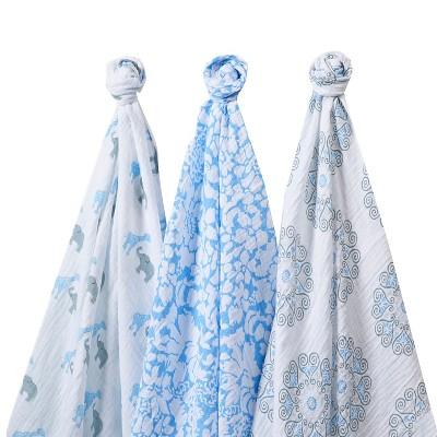 SwaddleDesigns® SwaddleLite® 3pk Blanket - Lush Lite - Blue