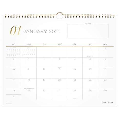 2021 Wall Calendar Work Style Medium - Cambridge - image 1 of 4