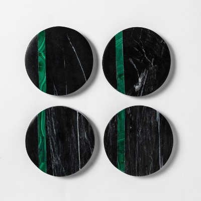 4  4pk Marble And Malachite Coaster Set Black/Green - Project 62™