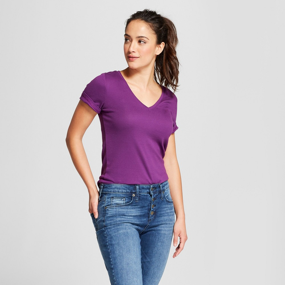 Women's Fitted Short Sleeve V-Neck T-Shirt - A New Day Purple XL