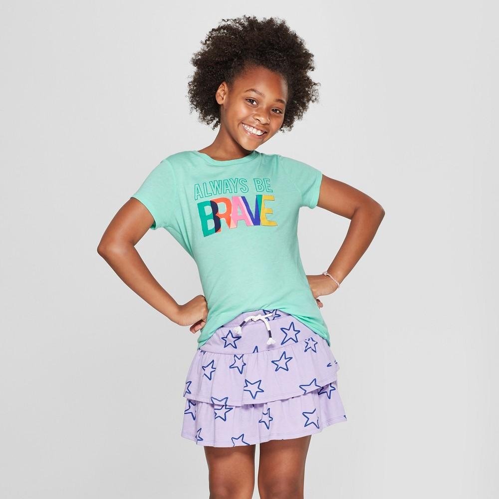 Girls' Short Sleeve Always Be Brave Graphic T-Shirt - Cat & Jack Light Green XS