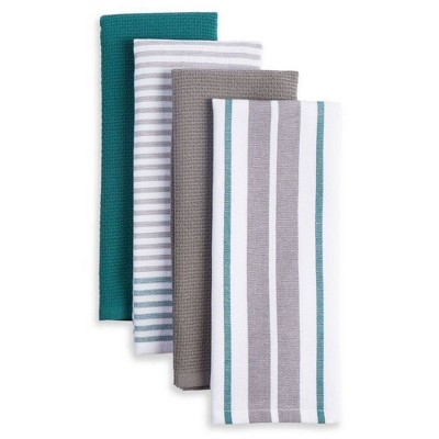 4pk Bistro Kitchen Towels Teal/White/Gray - Town & Country Living