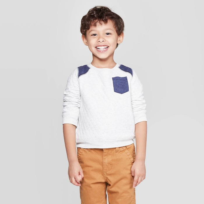 OshKosh B'Gosh Toddler Boys' Quilted Long Sleeve Pullover Sweater - Off White - image 1 of 3