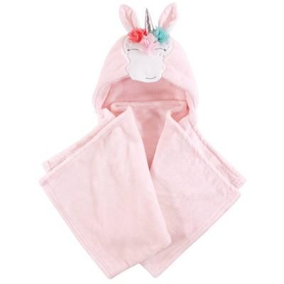 Hudson Baby Unisex Baby and Toddler Hooded Animal Face Plush Blanket - Whimsical Unicorn One Size
