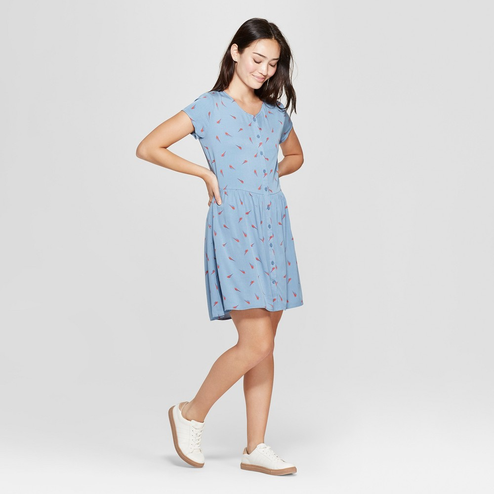 petiteJunk Food Women's David Bowie Short Sleeve Empire Tie Waist Dress - Blue XS was $32.0 now $11.19 (65.0% off)