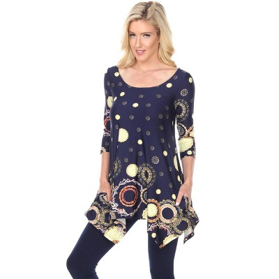 Women's 3/4 Sleeve Printed Erie Tunic Top with Pockets - White Mark