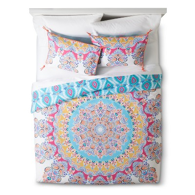 Blue&Pink Gypsy Rose Medallion Reversible Duvet Cover Set