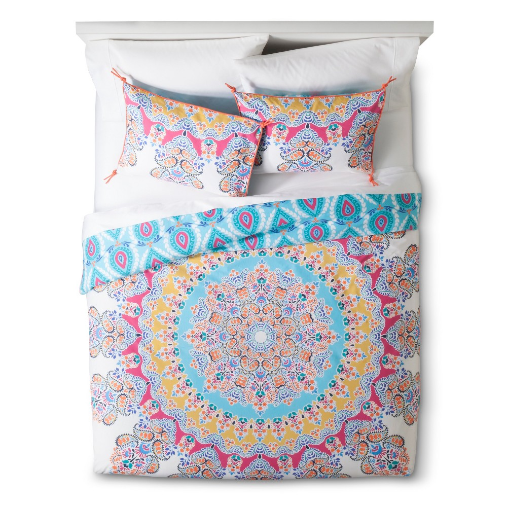 Image of Blue&Pink Gypsy Rose Medallion Reversible Duvet Cover Set (Full/Queen) 3-pc - Boho Boutique, Multicolored